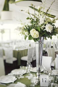 Pretty silver and green florals - very elegant linens