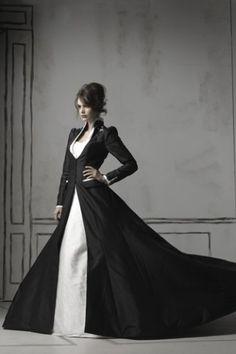 Gothic Black Long Sleeved Taffeta Winter Wedding Gown [#UD3287] - Udreamybridal.com