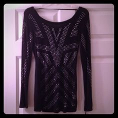 Black studded shirt never worn Long sleeved black with silver studded design. Never worn. Fitted style. Rock & Republic Tops