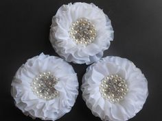 "White Beaded chiffon flower, Chiffon  Ruffled Flower ,3.25 "",Hair Bow Headband Supply, DIY Baby Crafts, Wholesale by jwhitevintage on Etsy https://www.etsy.com/listing/236078163/white-beaded-chiffon-flower-chiffon"