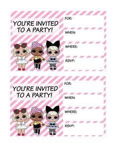 Shared with Dropbox - Savannah Birthday parties - loldolls Free Printable Birthday Invitations, Party Printables, 9th Birthday Parties, 7th Birthday, Birthday Ideas, Surprise Birthday, Invitation Fete, Lol Doll Cake, Doll Party