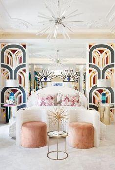 Incredible Art Deco Design You Can Try To Display Exhibits - Page 14 of 22 - afyon Interiores Art Deco, Estilo Art Deco, Summer Deco, Art Deco Bedroom, Home Decor Bedroom, Bedroom Sets, Art Deco Interior Living Room, Queen Bedroom, Bedroom Inspo