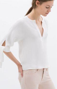 V-neck Half Sleeves White Chiffon Blouse