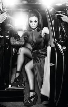 Mila Kunis evokes sixties style in the fall campaign for Dior's Miss Dior handbag line, photographed by Mario Sorrenti.