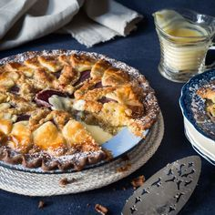 linzertorte with port stewed damsons cakes and co