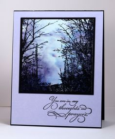 The 'Woodland Wonder' stamp works beautifully for a restful or dramatic scene depending on the colours you add to the sky. The soft colours of dusk in the sky above seemed to fit with a sympathy or...