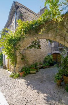 A beautiful archway in Grignon, Drôme Provencale,