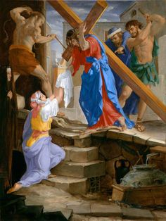 The Fourteen Stations Of The Cross painted by Leonard Porter. Station 6 - Where Christ is met by Veronica.