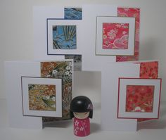 """A series of cards I made. I call them """"Seasons"""" and again made with beautiful Japanese paper. Available in my FB shop :o)  Washi paper cards - re-Pinned by HankoDesigns.Com"""
