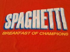#Spaghetti Breakfast Of Champions Orange T-Shirt Proud #Italians XL Made In USA #AmericanApparel #GraphicTee