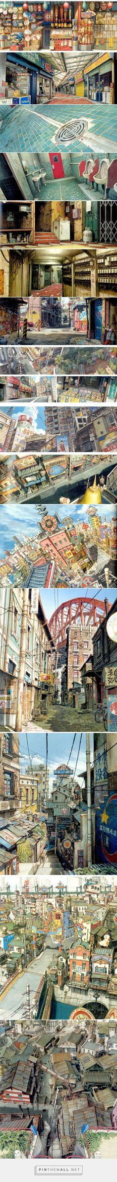 Mais um pouco dos incríveis cenários de TekkonKinkreet | THECAB - The Concept Art Blog - created via http://pinthemall.net