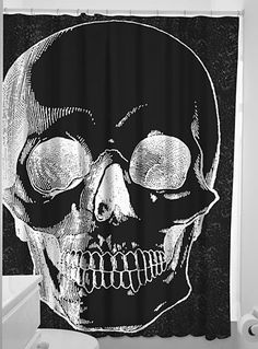 X-Ray Anatomical Skull Shower Curtain by Sourpuss Clothing, Home Decor, Black