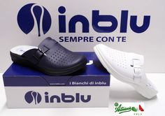 INBLU ciabatte pantofole uomo sanitarie fibbia VERA PELLE RH-01 blu bianco