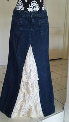 long wonen's denim skirt with lace insert by TwirlandTango on Etsy, $55.00