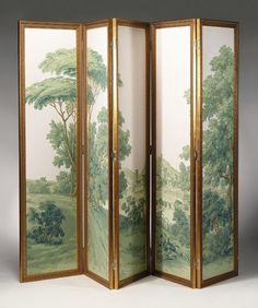 French five panel wallpaper screen, zuber & cie, screen