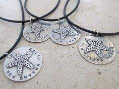 Personalized hand stamped starfish, palm tree, fish, turtle, heart necklace in sterling silver. Customized for you by JoDeneMoneuseJewelry on Etsy