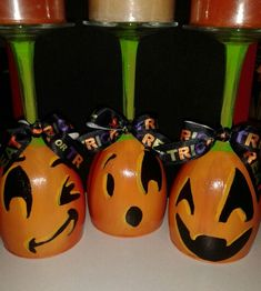 Hand painted pumpkin wine glass candle holder!