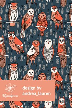 owls design by andrea_lauren // Navy, blue, orange, and coral hand illustrated owls with geometric shapes on fabric, wallpaper, and gift wrap.  Beautiful hand illustrated owls by indie designer Andrea Lauren.  #illustration #drawing #owls #fabric #wallpaper #draw #sketch
