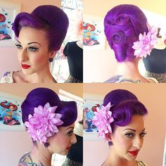 The final look from my vintage hairstyling class was this super fun beehive on @luckyzombie84