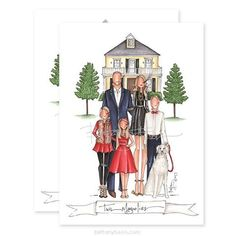 "I'm excited to finally reveal our 2017 batch of custom Christmas cards! First up, a family that just moved to a new house that they nicknamed ""Twin Magnolias"" for the double beauties on each side"