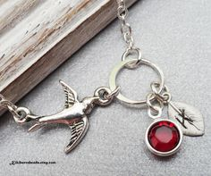 Bird Necklace With Initial And Swaovski Crystal by Kikiburrabeads, $22.50