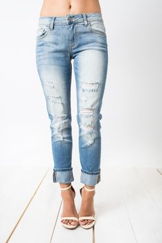 Love In Distress Boyfriend Jeans #boyfriend-jeans #destroyed #distressed #five-pocket #jeans #medium-wash #ripped #women #womens