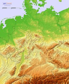 Detailed terrain map of Germany and the surrounding region (Europe, Germany) Sully, History Of Germany, Physical Geography, Alternate History, Historical Maps, Planet Earth, Game Info, Charts, Learn German