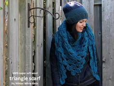 Triangle scarf kerchief scarf triangle shawl by WinterWhiteKnits