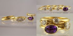 amethyst pendant & 3 stone diamond ring remodelled into 18ct gold stacking ring set