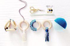 Unique baby gift set, Organic wood teethers , Nursing necklace , Montessori toys