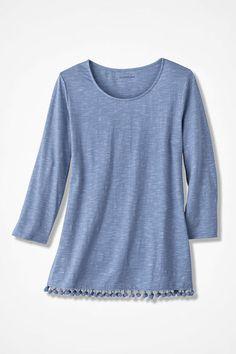 Pompom-Hem Knit Tunic, Dusty Blue