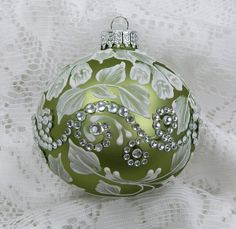 Soft Spring Green Hand Painted 3D Floral Design MUD Ornament with Rhinestone Bling.