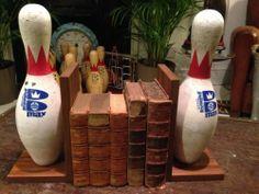 Unusual Vintage Industrial Retro Book Ends Bowling Pins Shop Display | eBay