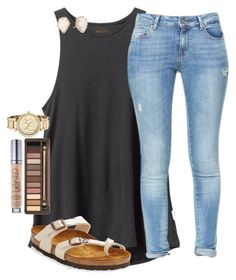 Ootd!! HAPPY FRIDAY BABES by emmagracejoness on Polyvore featuring RVCA, Zara, Birkenstock, Michael Kors, Kendra Scott and Urban Decay