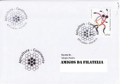 Sobrescrito circulado com carimbo 1.º dia da série de selos Apicultura - Continente. Selo de taxa N referente aos Jogos Paraolimpicos colocado em circulação a 19 de junho de 2012