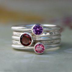 Sterling Silver Stacking Rings, Garnet Amethyst Pink Topaz, Stackable Set of 5 Rings, Stack Gemstone Ring, Handmade Jewel