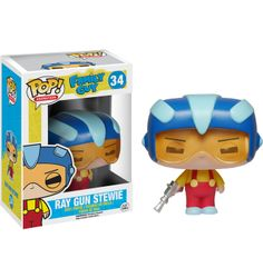 Family Guy - Ray Gun Stewie Griffin Funko Pop! Vinyl Figure. Stewie's go to outfit or mid flight fights! This pint sized evil genius had planned to kill his potential brother before he was born! Other pops in this set include Peter, Stewie and Brian