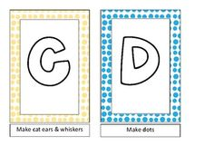 Color the R Red, Give the C Cat's Ears.... Each letter tells how to color or collage in keeping with its sound. (1st grade?)