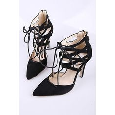 LUCLUC Black Suede High-heeled Lace Up Shoes ($46) ❤ liked on Polyvore featuring shoes, lucluc, black suede shoes, lace up high heel shoes, black shoes, kohl shoes and black laced shoes