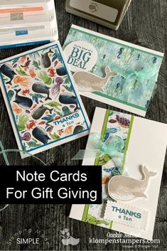 The best gift giving note cards you can make in minutes. Let your designer and scrapbook paper do the work and make cool handmade gifts. Watch the tutorial at www.klompenstampers.com #notecards #diygifts #giftideas #christmasgiftshandmade #handmadegifts #cardmaking #cardmakingtutorials #easycardmaking #simplecards #jackiebolhuis #klompenstampers #stampinup #stampinupcards #whaleofatimestampinup #whaledonestampinup