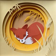 so much incredible artwork by Helen Musselwhite...love this paper cut fox Asleep in the Rick via Flickr