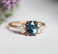 Blue Sapphire Engagement Ring Rose Gold, Blue Cushion Sapphire and Diamond Ring, Unique Blue . Blue Sapphire Engagement Ring Rose Gold, Blue Cushion Sapphire and Diamond Ring, Unique Blue Engagement Ring Verlobung Engagement Ring Rose Gold, Perfect Engagement Ring, Engagement Ring Settings, Vintage Engagement Rings, Unconventional Engagement Rings, Different Engagement Rings, Non Diamond Engagement Rings, Colored Engagement Rings, Engagement Ring Non Traditional