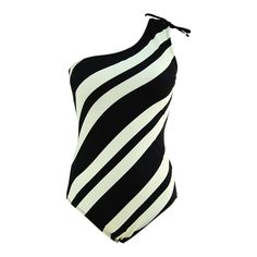 Black & White Stripes Sexy One-Shoulder One Piece Bathing Suit
