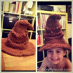 Ravelry: Free Harry Potter Sorting Hat pattern. In case I ever need a cool witch hat