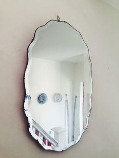 Art Deco Oval Frameless Mirror with bevelled edges/Scalloped mirror/Vintage mirror/1930s mirror/Boho Wall Mirror/bathroom mirror