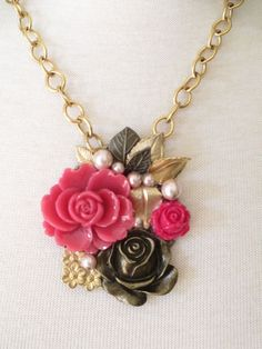 Handmade Jewelry Assemblage Garden Flower  Bib Necklace OOAK Collage Necklace #Cluster