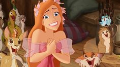 Giselle, futura princesa, é ajudada pelos animais, em Encantada