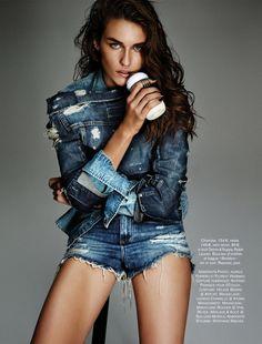 Marjolaine Rocher wears denim for Glamour France Magazine December 2013 issue Photoshoot
