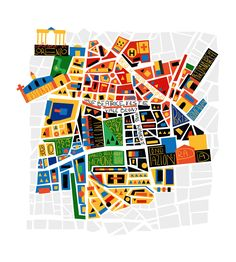 Alberto Lot - Map of Milan for Urban Magazine Milan Map, Map Design, Graphic Design, Map Quilt, Stoff Design, Italy Map, Italy Italy, City Illustration, Medical Illustration