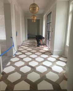 Hexagon insert floor design with tile House Design, House, Floor Design, Home, Home Remodeling, House Styles, New Homes, Home Renovation, Flooring